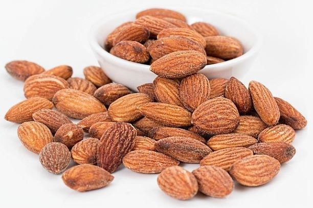 almonds laid on table