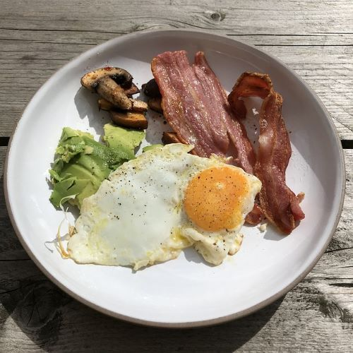 plate of egg, bacon, avocados, and mushrooms
