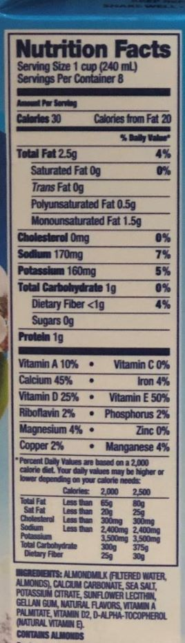 almond milk nutrition label