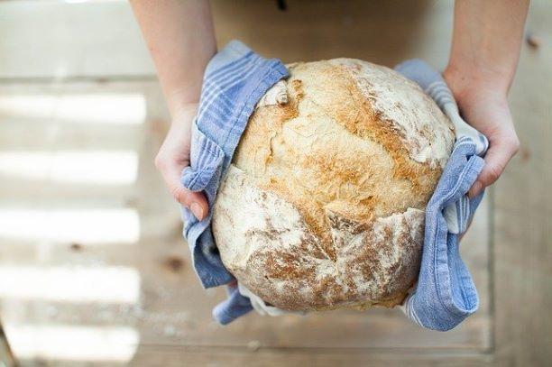 round bread held between two hands