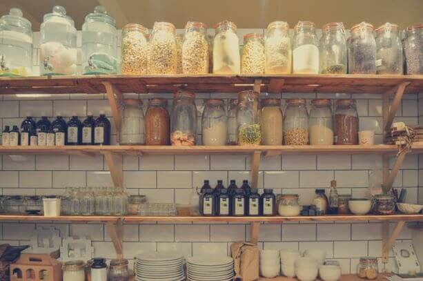 clear jars in pantry