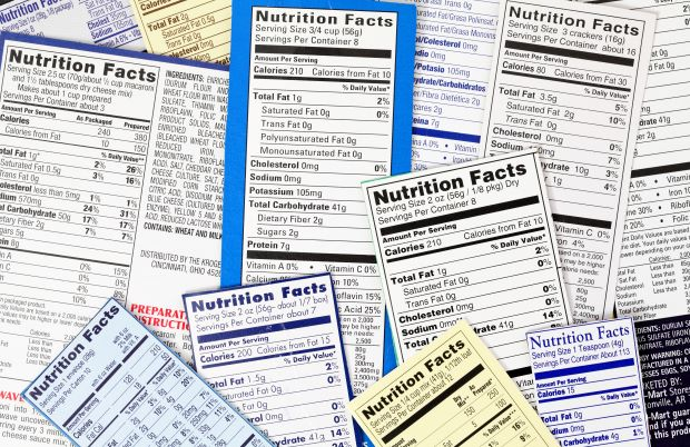 group of nutrition labels grouped together in a cluster
