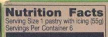toaster strudel nutrition label