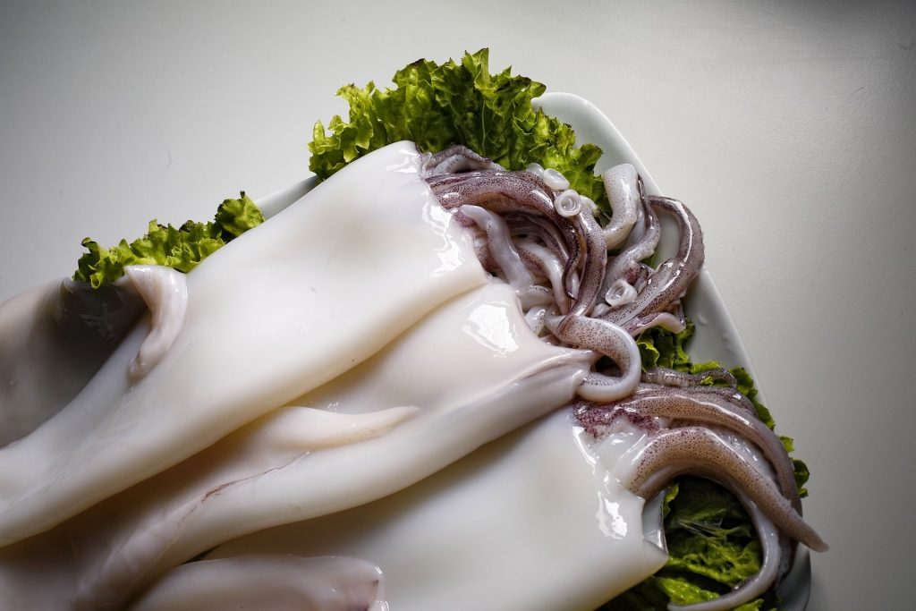 cleaned and raw squid which is a keto friendly seafood